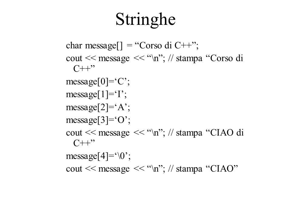Stringhe char message[] = Corso di C++ ;